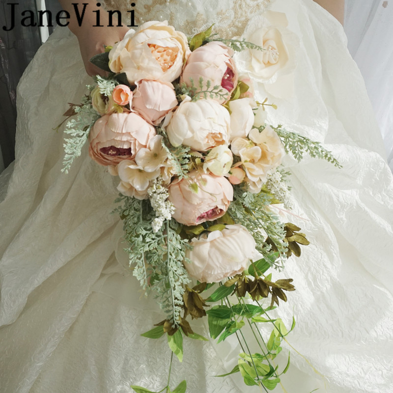 JaneVini Vintage Peonies Wedding Bouquets Waterfall Artificial Rose Peony Bridal Flowers Bouquet Brides Hand Holder Accessories