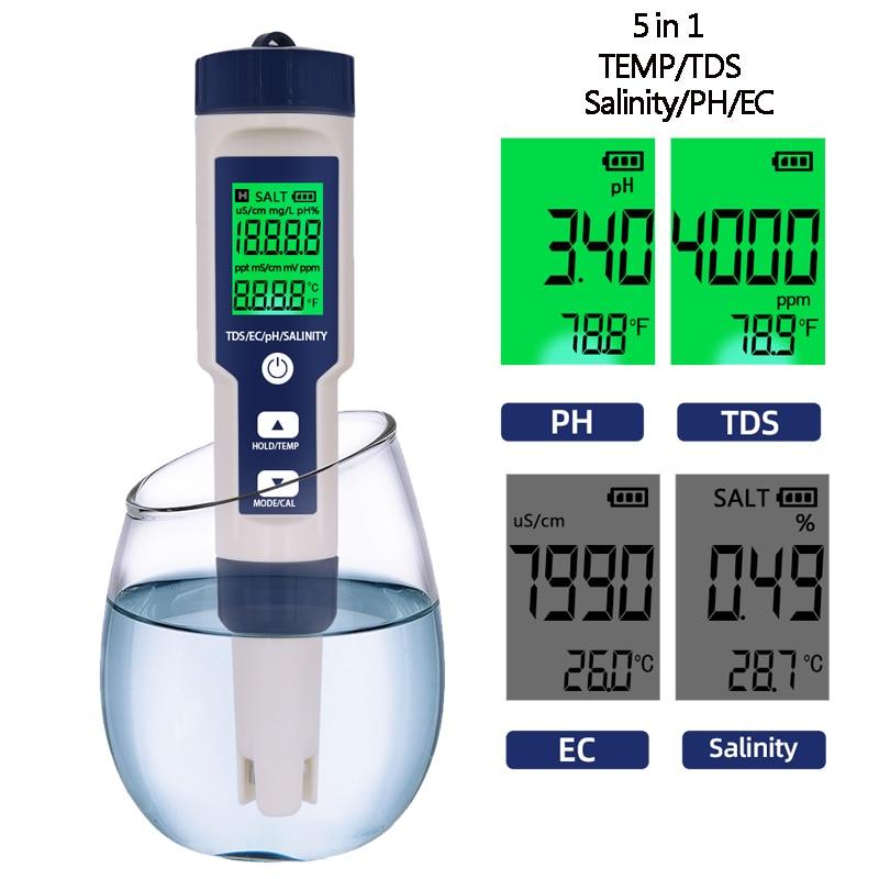 Digital Salinity Tester PH Meter 5 In1 PH TDS EC Temp Salinometer TDS EC Meters Thermometer Water Quantity Measure Tool 40% Off