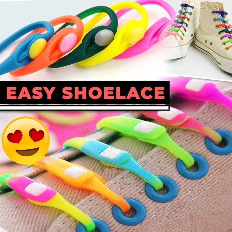 14pcs/pack  Lazy Silicone Shoelaces Round Elastic No Tie Quick Shoelaces All Sneakers Fit Strap Shoe Strings For Woman And Man