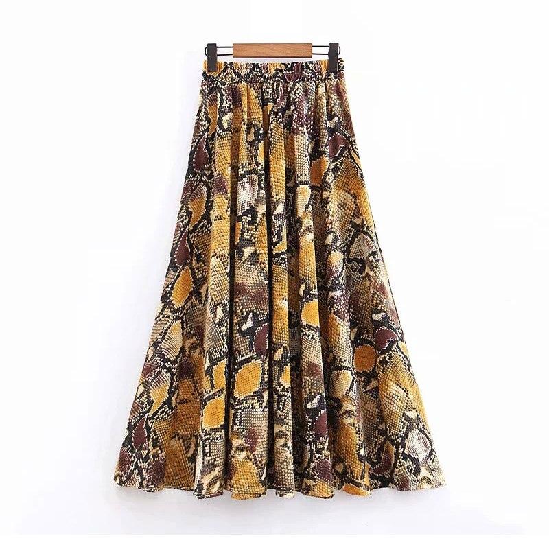 Femme Plus Size Vintage Women Snake Long Skirts 2019 Spring-summer Ladies Animal Print Boho Stain Skirt Faldas Girl Chic Jupe
