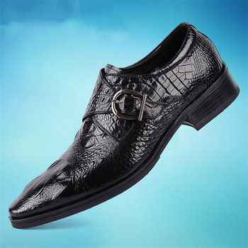 retro men lace up oxfords grey pointed toe casual shoes business man office shoes man shoes all season Fashion Men's Crocodile Grain Leather Dress Shoes Man Casual Pointed Toe Oxfords Mens Lace-Up Business Office Oxford Shoes