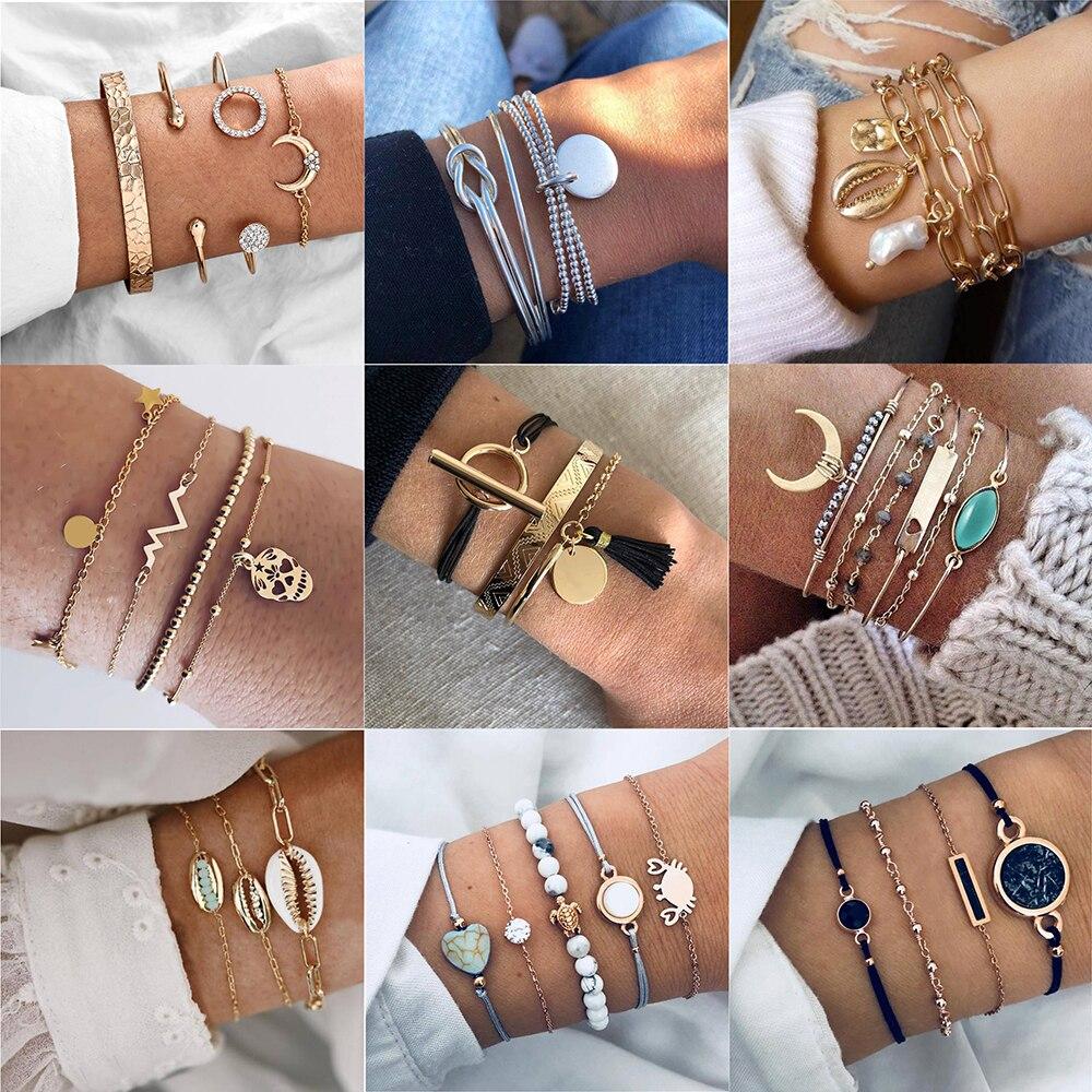 5Pcs//Set Women Love Heart Sea Turtle Weave Bangle Rope Bead Bracelet Jewelry