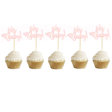 10pcs Glitter Oh Baby Cupcake Topper 1st Birthday Shower Gender Reveal Girl Boy Party Supplies