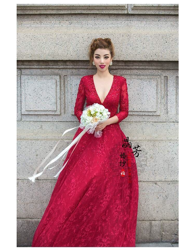 Casamento Vestido De Noiva 2016 Fashionable Sexy Backless V-neck Red Long Sleeve Bridal Gown Lace Wedding Dress Free Shipping