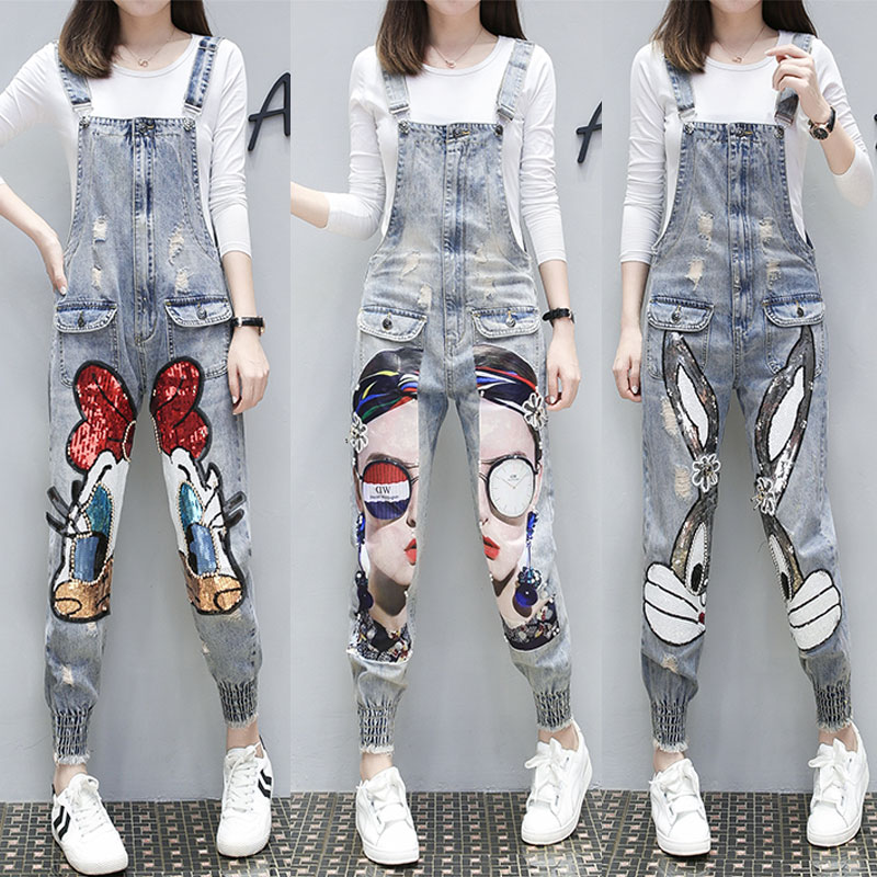 Denim Overalls For Women 2019 Spring Au-tumn Cartoon Character Print Hole Women's Jumpsuits Loose Casual Denim Pants Bodysuit