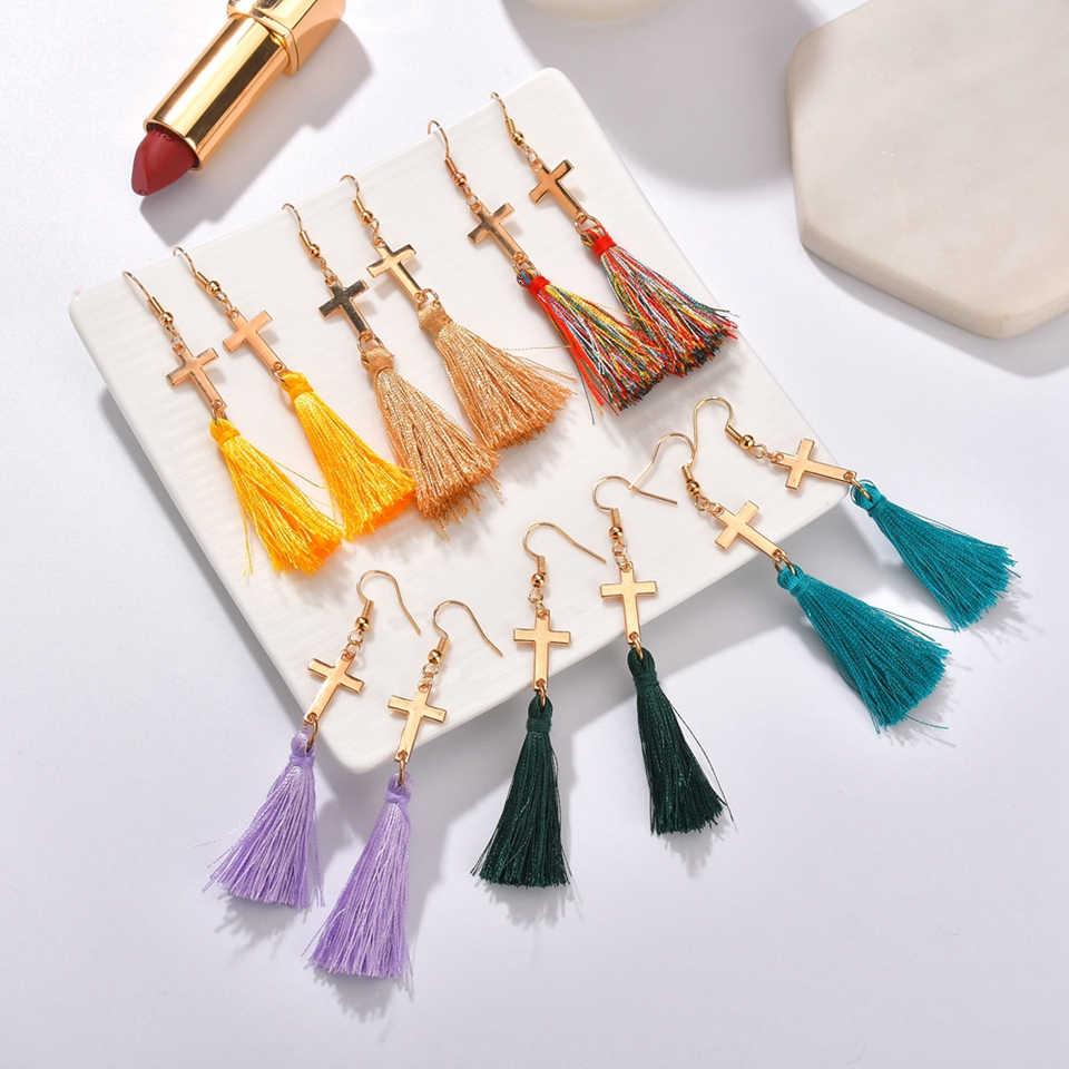 Trendy Black Cross Pendant Earrings Pendientes Mujer Moda For Women's Girls Multi-color Long Tassel Drop Earrings Lover Gift