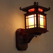 Antike chinesische retro holz wand lampe leuchte licht e27 restaurant hotel schlafzimmer wand leuchte vintage leuchte art deco