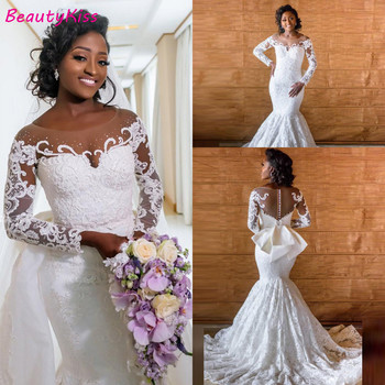 African Long Sleeve Satin Mermaid Wedding Dresses 2020 Removable Train Arabic Illusion Full Lace Beaded Gowns Plus Size - discount item  19% OFF Wedding Dresses