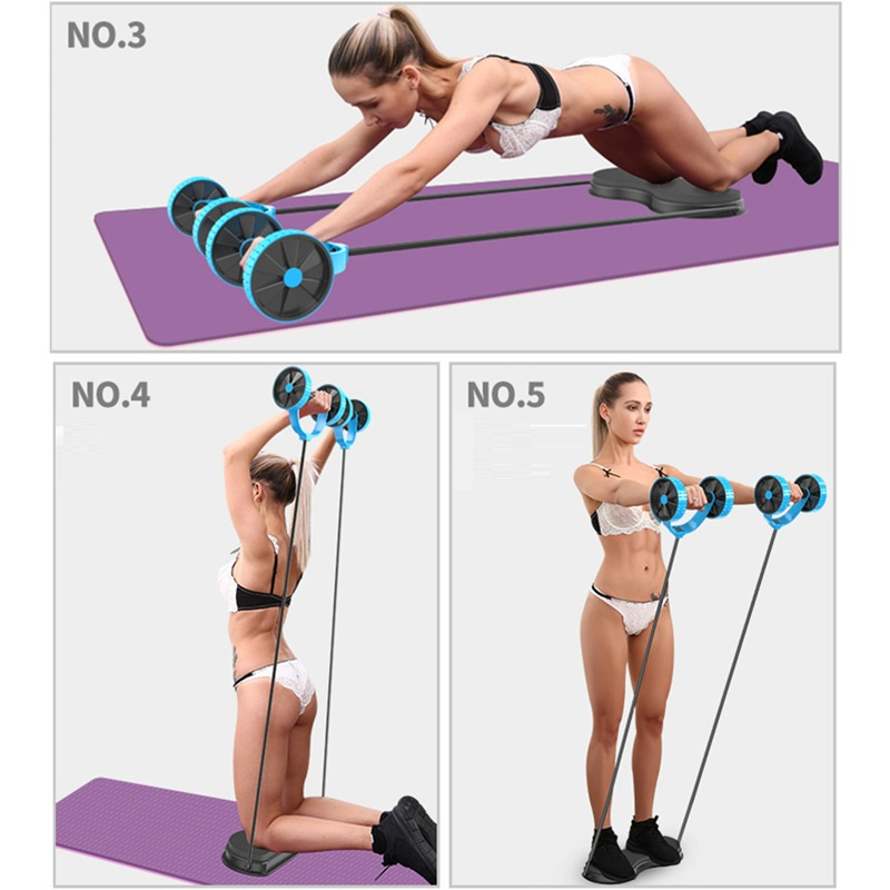 Men Multi Function Double Ab Roller Wheel Exercise and Fitness for Women Abdomen Arm Workout Equipment Waist Exercise Trainers image