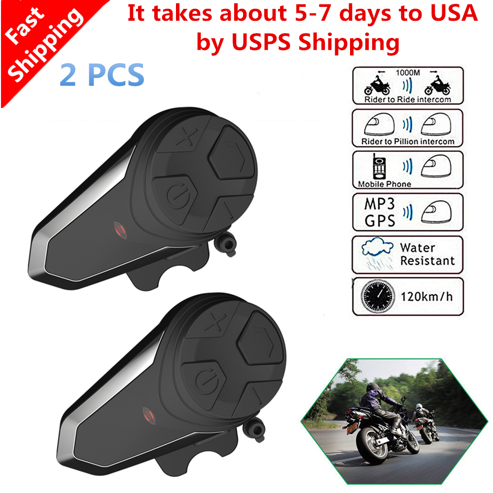 2 Pcs Original BT-S3 Motorcycle Helmet Intercom 1000M Wireless Helmet Bluetooth Headset Waterproof Interphone Intercomunicador