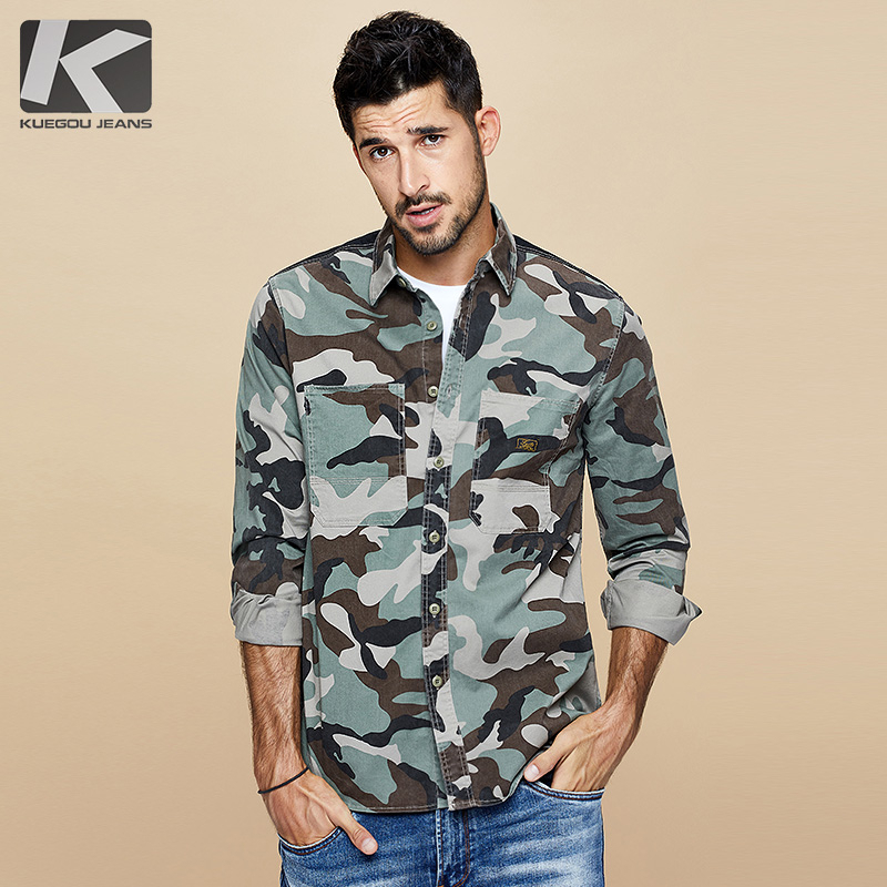 KUEGOU 2019 Autumn Cotton Camouflage Military Shirt Men Dress Casual Slim Fit Long Sleeve For Male Fashion Brand Blouse 6112