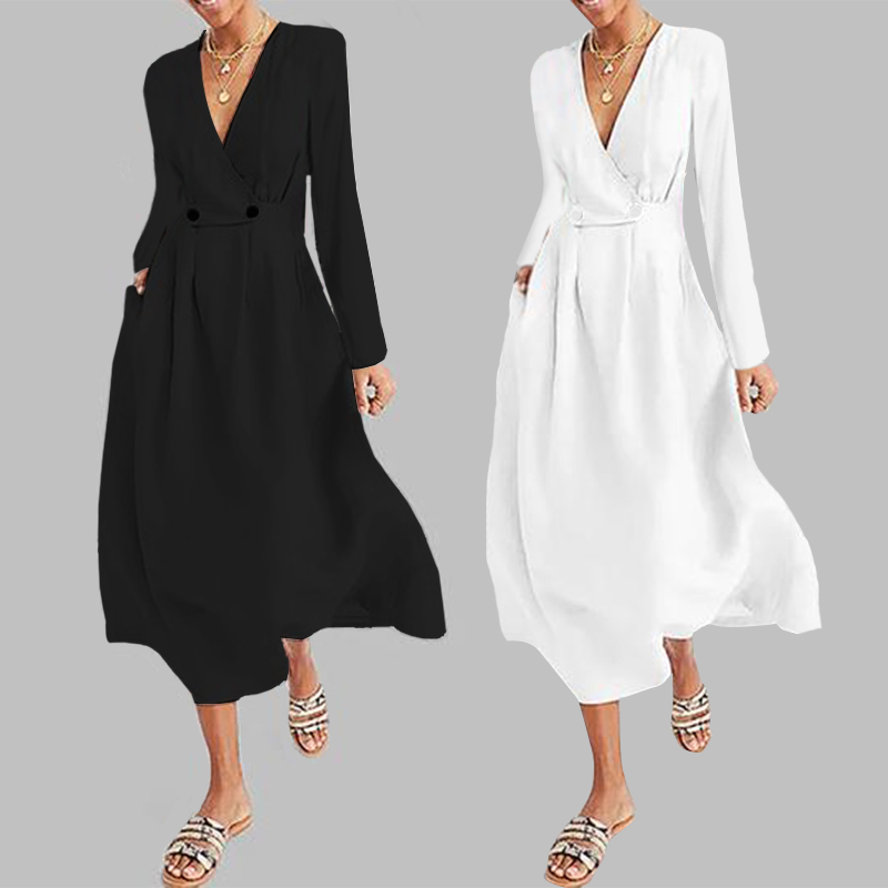 Celmia 2019 Fashion Women Pleated Long Shirt Dress Long Sleeve Button Casual <font><b>Sexy</b></font> V Neck High Waist Party Vestido Robe <font><b>Mujer</b></font> <font><b>5XL</b></font> image
