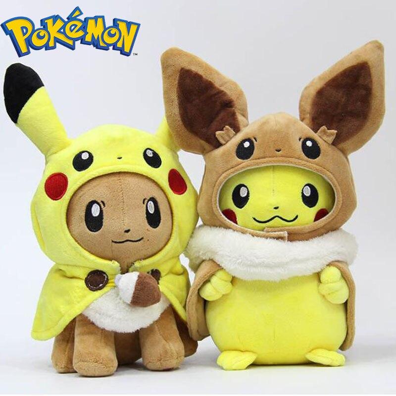takara-tomy-font-b-pokemon-b-font-plush-toys-pikachu-cosplay-eevee-plush-stuffed-dolls-eevee-with-cloak-cos-pikachu-toy-kids-gift