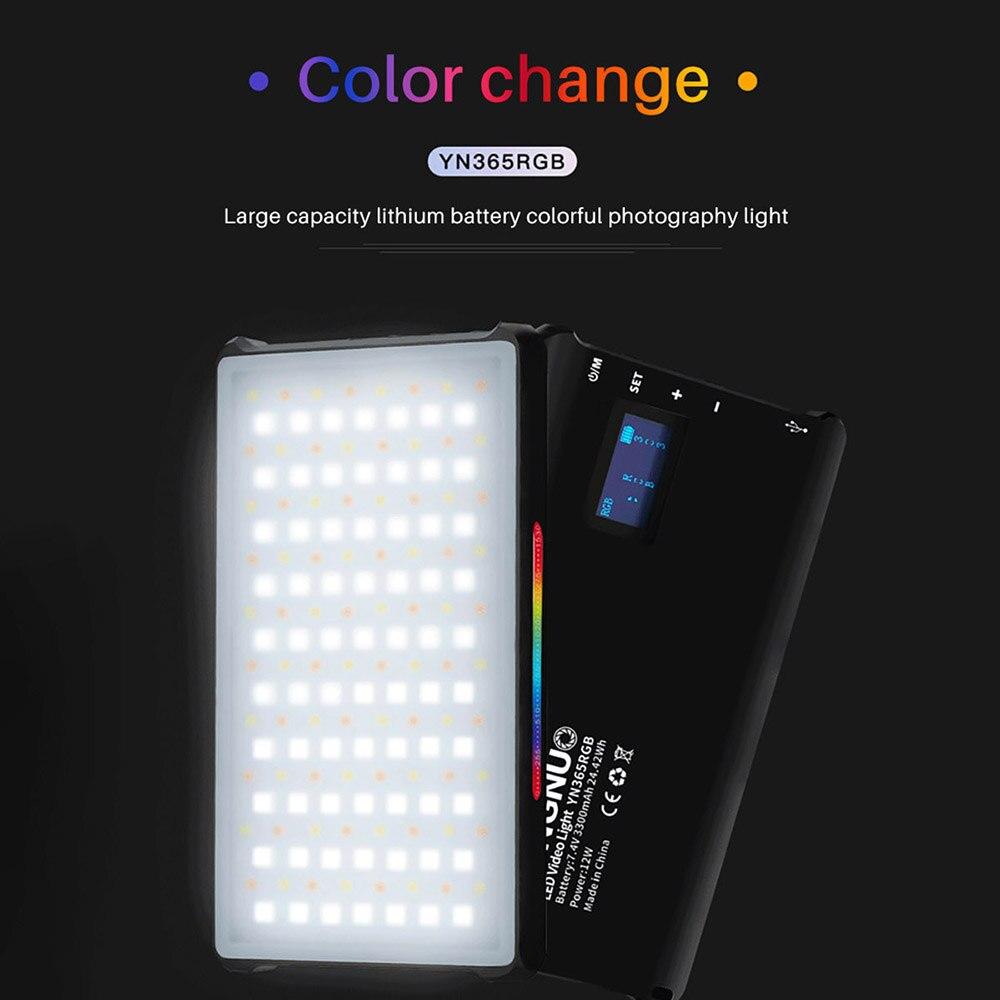 YONGNUO YN365 rvb LED photographie Studio éclairage polychrome 2500k-8500k 3300mAh batterie Rechargeable lampe vidéo lumière de poche