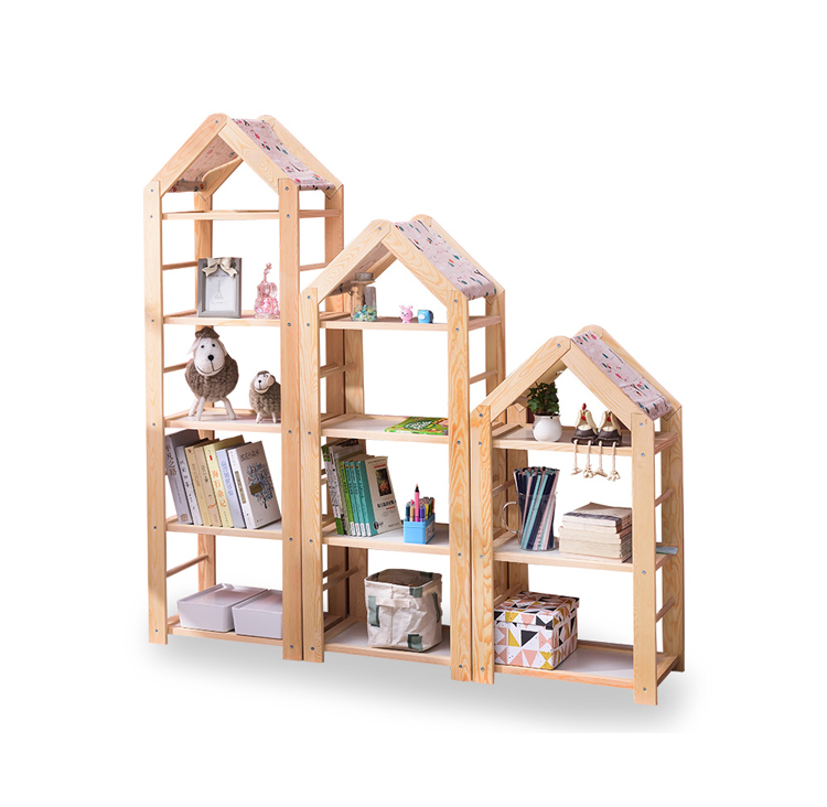 H1 Children's Floor Bookshelf Solid Wood Simple Modern Economical Assembled Home Pupils Save Space Small Bookcase Kids Chair
