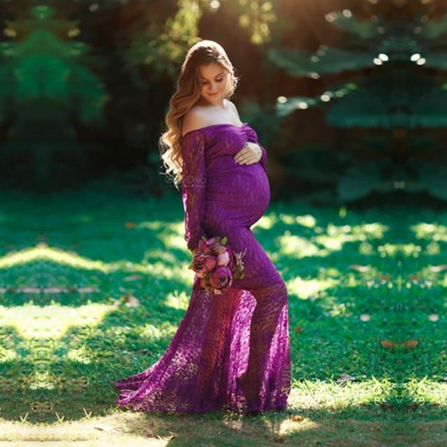 دانتيل كم طويل ملابس للحمل قلب حلو ملابس للحمل لتصوير الصور فستان ماكسي البرك فستان الحمل التصوير