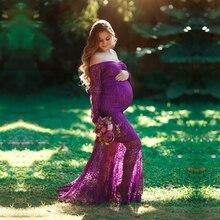 Vestido longo de maternidade, manga longa renda vestidos de maternidade doce coração para foto tiro maxi vestido puddles gravidez vestido de fotografia