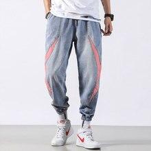 Классическая мужская мода джинсы Японский стиль свободная посадка брюки синие шаровары хомбре уличной полосы патч хип-хоп бегунов