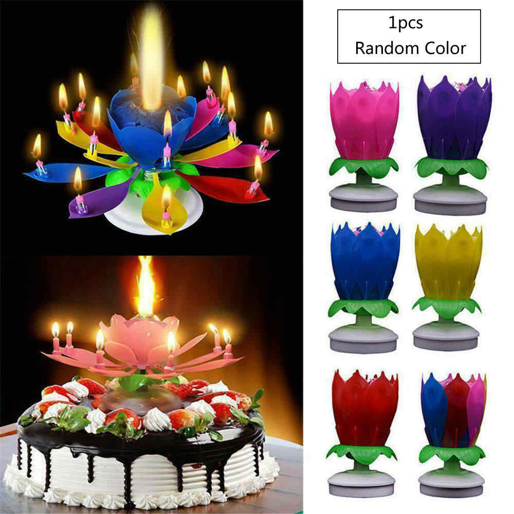 Musical Birthday Candle Lotus Flower Magic Decoration Cake Topper Party Gift Kid Home Garden Party Supplies