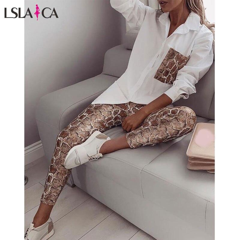 Casual Women Set Autumn Winter Print TurnDown Collar Long Sleeve Snake Color Pocket Long Pants Suit New Two-Piece Set