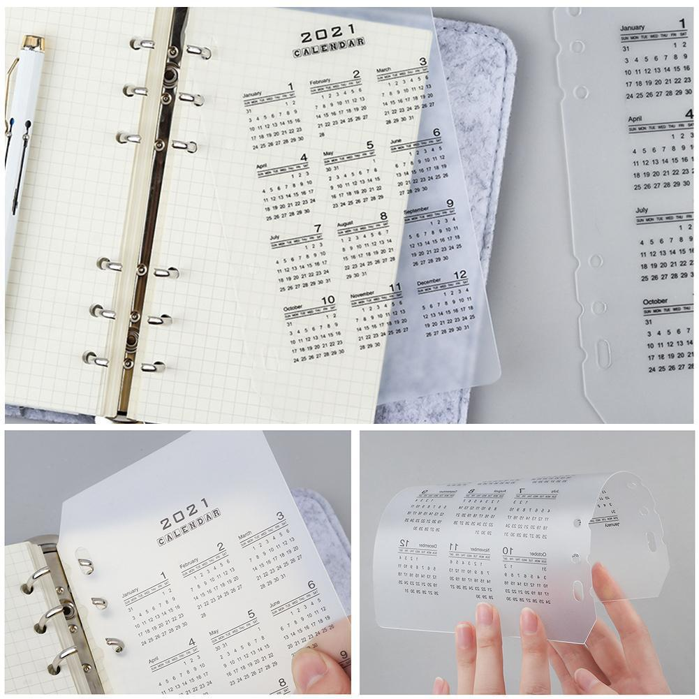 2021 Calendar PP Divider 6 Holes A5 A6 Loose Leaf Notebook Planner Index Binder Sheet Inner Category Clip Planner Filofax B9X9