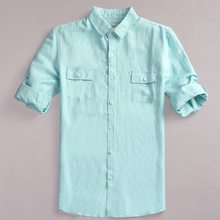 Half sleeve summer and spring lake blue shirt men brand linen shirts for men fashion casual men shirt solid breathable shirts(China)