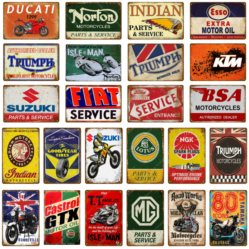 Motor Oil Metal Signs Classic Motorcycle Poster Vintage Painting Decorative Wall Plaque For Bar Pub Garage Decoration YJ125(China)