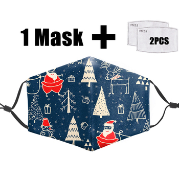 Christmas Tree Flu Anti Dust Warm Mask Face Cartoon Fresh Flowers Print 3D Funny Masks Pm2.5 Filter Reusable Adult Mouth Mask
