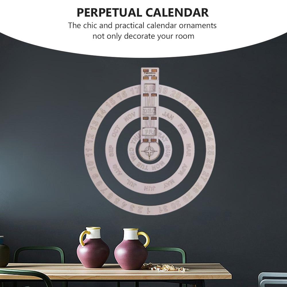 1pc Wall Calendar Unique Wall Calendar Round Rotating Perpetual Calendar 3