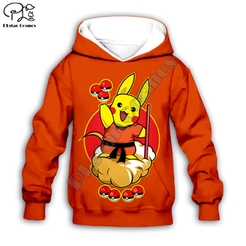 Ropa para niños Dragon ball Goku y pikachu 3D Sudadera con capucha bebé niño niña pokemon estampado pulóver dibujos animados manga larga sudadera