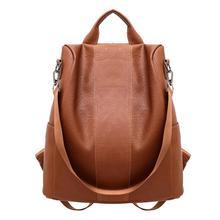 Women Backpack Anti Theft Soft Leather PU Bag Rucksack Ladies New Casual Fashion Backpacks School Shoulder Bags Black / Brown