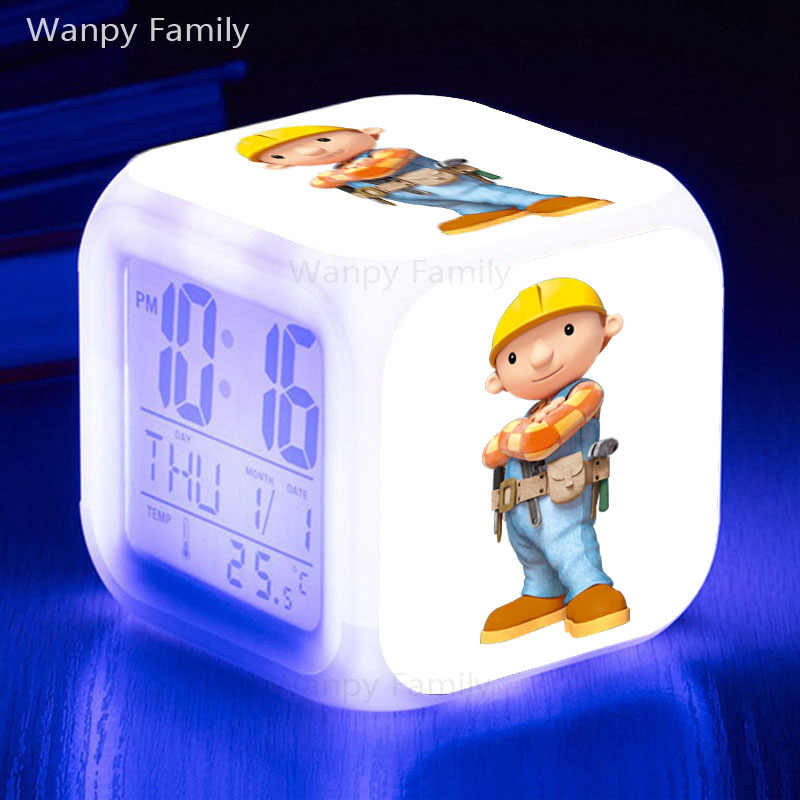 건설 엔지니어 밥 알람 시계 빛나는 LED 색상 아이들을위한 디지털 알람 시계 변경 생일 선물 만화 장난감 시계