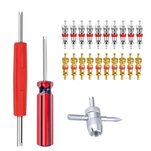 Valve Core Tool Set 20Pcs Valve Cores, 4-Way Valve Tool, Dual Single Head Valve Core Remover, Tire Repair Tool
