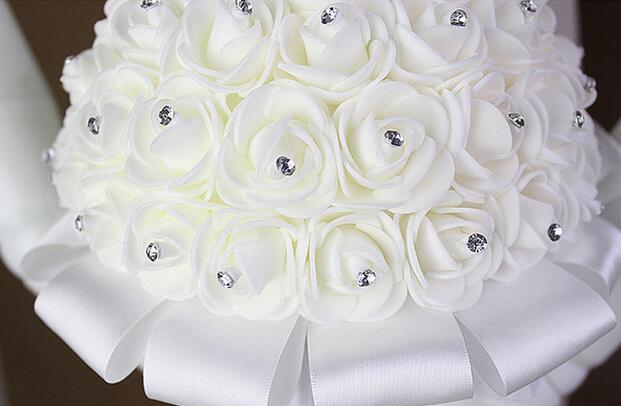 Artificial Wedding Bouquets Hand Made Rose Flower Rhinestone Bridesmaid Bridal Wedding Bouquet de mariage wedding accessories 6