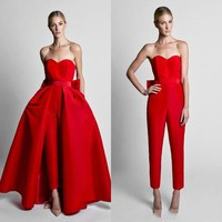 2019 Simple Elegant Red Jumpsuit Evening Dresses With Removable Overskirt Satin Bow Back Sweetheart Prom Gowns Formal Party Wear