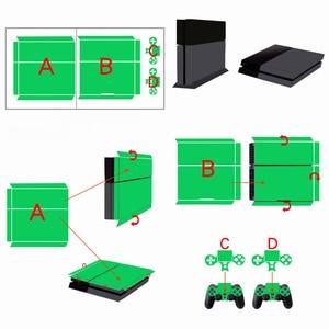 Image 2 - הסוואה פלסטיק ויניל מדבקת עור עבור Sony פלייסטיישן 4 קונסולת עם 2 בקרי כיסוי עבור PS4 Gamepad Joypad מדבקות