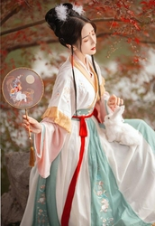 Tutu language Hanfu female summer Jin waist-waisted collar broken skirt Hanfu cosplay clothing student daily chinese hanfu girls
