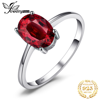JewelryPalace Genuine Garnet Ring Solitaire 925 Sterling Silver Rings for Women Engagement Ring Silver 925 Gemstones Jewelry 1