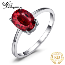 Wholesale 1.6ct Genuine Red Garnet Solitaire Rings For Women Oval Cut Solid 925 Sterling Silver Charms Fashion Accessories 2015