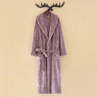 Soft Flannel Winter Robe Women Men Warm Dressing Gown Female Simple Purple Home Bath Robe Sexy Coral Fleece Night Sleepwear