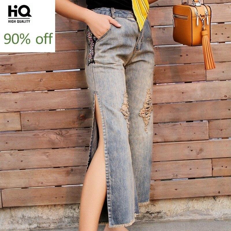 High Street Jeans Woman Ankle Length Wide Leg Slim High Waist Ripped Hole Side Split Denim Pants S-2XL Street Tassel Baggy Jeans
