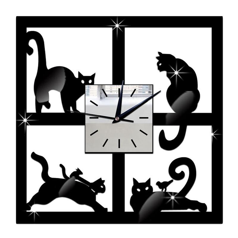 3D Unique Cat Mirror Black Wall Clock Modern Design Home Environmentally Friendly Crystal Decoration