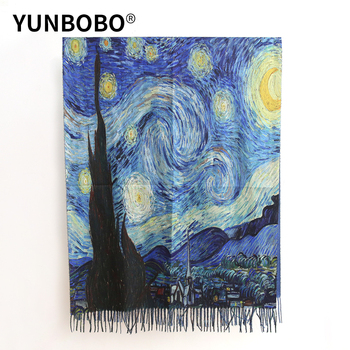 2020 Luxury brand  women winter cashmere scarf shawl Digital painted Van Gogh oil painting pashmina ladies Blanket - discount item  50% OFF Scarves & Wraps
