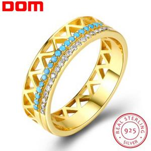Image 1 - DOM Women Rings 925 Sterling Silver Turquoise Zircon Fashion Gold Finger Rings for Women Wedding Engagement Jewelry Gift SVR224