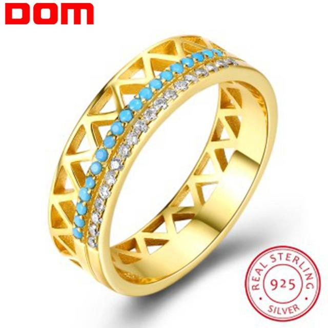 DOM Women Rings 925 Sterling Silver Turquoise Zircon Fashion Gold Finger Rings for Women Wedding Engagement Jewelry Gift SVR224
