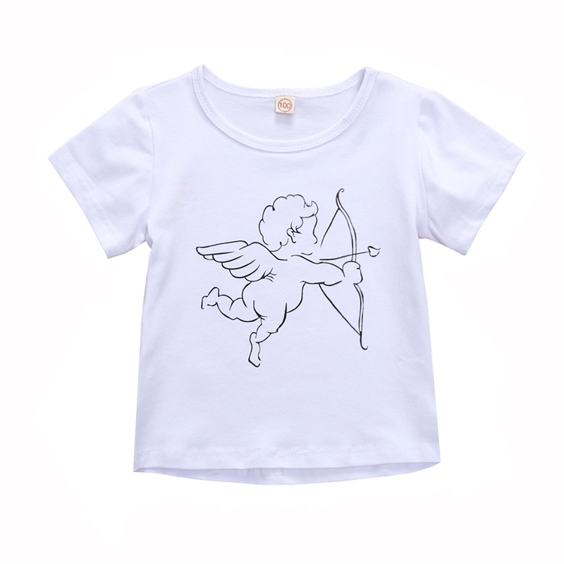 1-6Y Baby Boy Tshirt Cupid Toddler Shirts White T Shirt for Boys Kids
