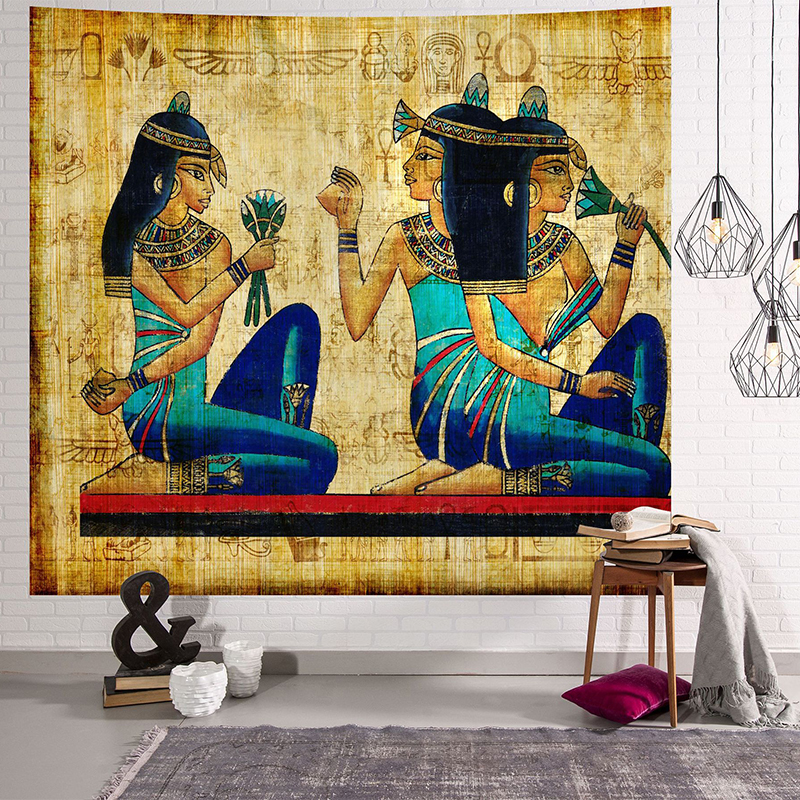 Image 4 - Yellow Ancient Egypt Tapestry Wall Hanging Old Culture Printed  Hippie Egyptian Tapestries Wall Cloth Home Decor Vintage  TapestryTapestry