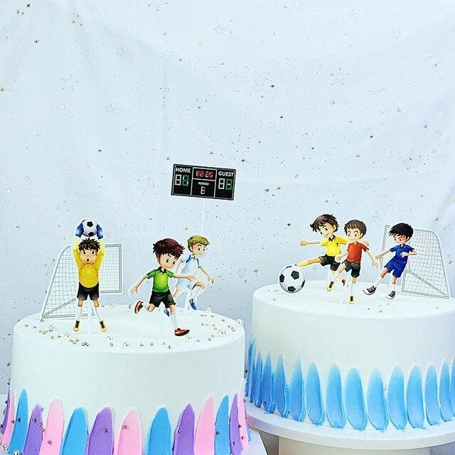 10 sztuk/zestaw grać w piłkę nożną ciasto topper wybiera baby shower dla dzieci chłopcy birthday party cupcake Decoration boisko do piłki nożnej sportowiec mecz