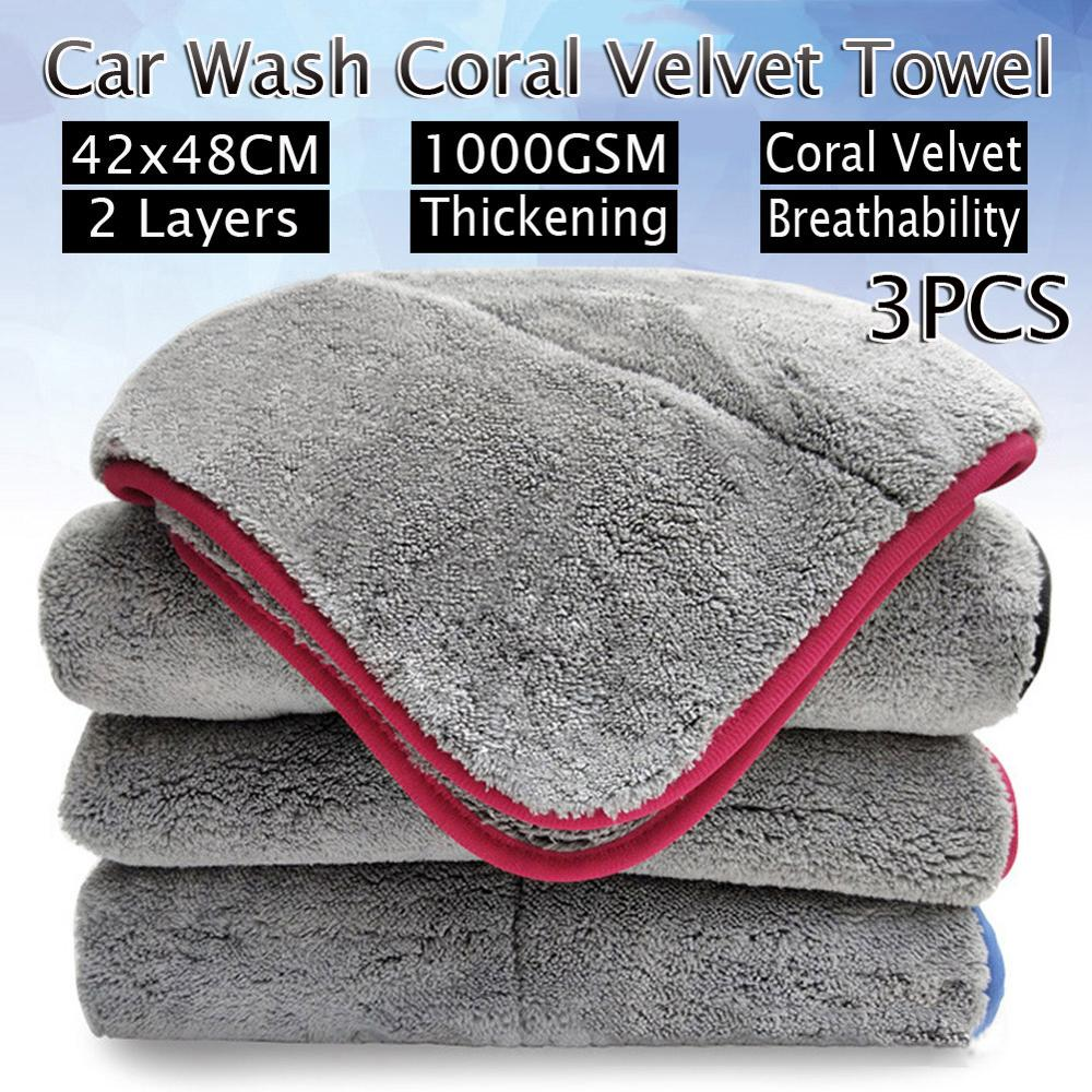 Car Wash 1000GSM Car Detailing Coral Velvet Towel Car Cleaning Drying Cloth Thick Car Washing Rag for Cars Kitchen Care Cloth