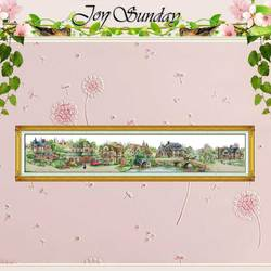 Big Size!! European Town Counted Cross Stitch 11 14CT Cross Stitch Landscape Cross Stitch Kit Embroidery Home Decor Needlework
